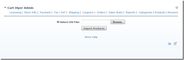 CSV Product Import interface