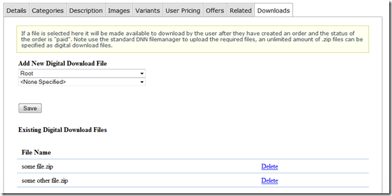 digital downloads admin