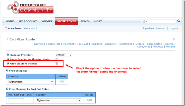 enabling in store pick up in DNN shopping cart