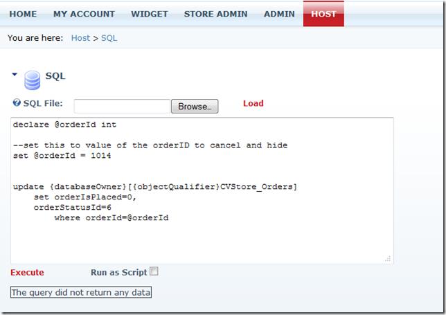 Hiding test orders using a SQL script