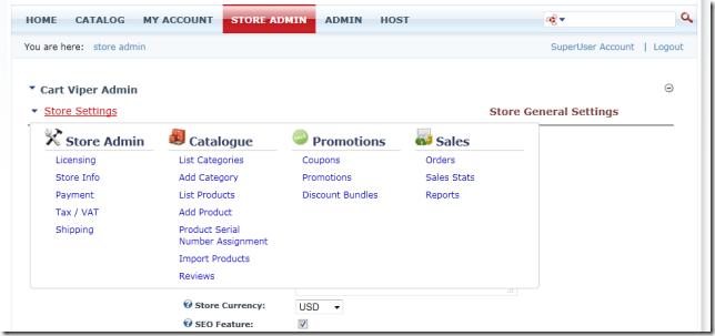 All the options you need to manage your store are now easy to find