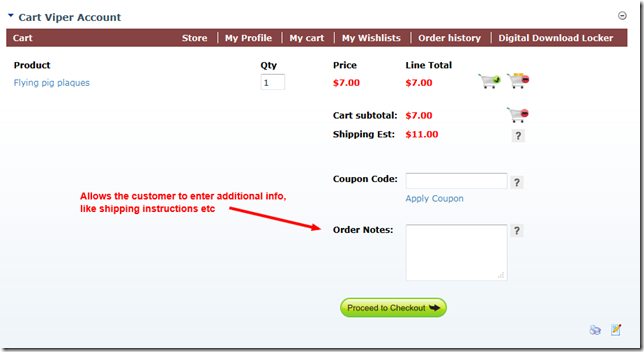 Checkout process with the optional notes field displayed