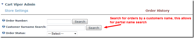 Search for an existing order by customer name