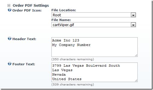 store order PDF settings